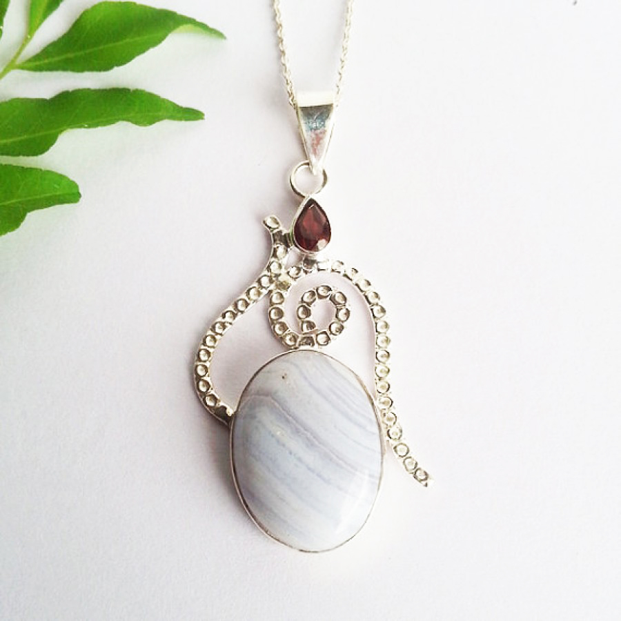 Amazing BLUE LACE AGATE / RED GARNET Gemstone Pendant, Birthstone Pendant, 925 Sterling Silver Pendant, Fashion Handmade Pendant, Free Chain, Gift Pendant