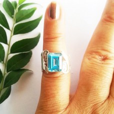 Attractive SWISS BLUE TOPAZ Gemstone Ring, Birthstone Ring, 925 Sterling Silver Ring, Fashion Handmade Ring, All Ring Size, Gift Ring