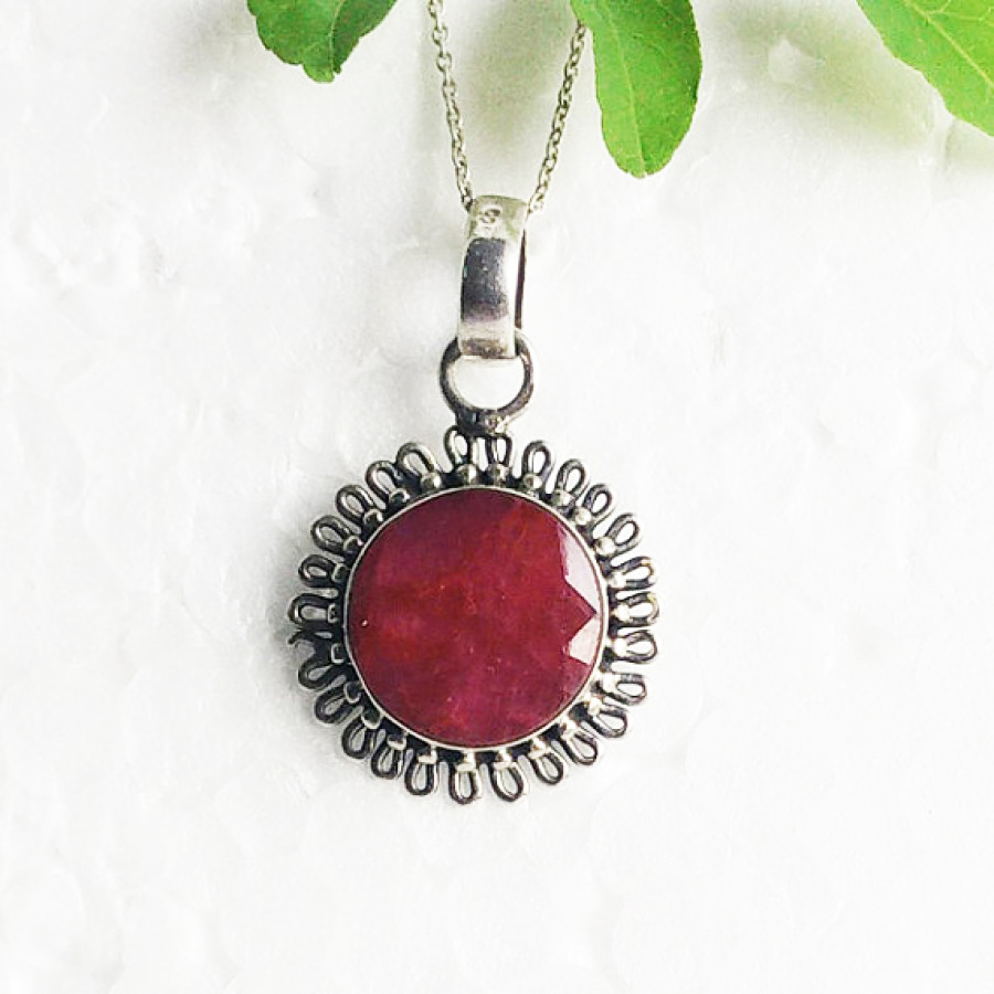 Beautiful NATURAL INDIAN RUBY Gemstone Pendant, Birthstone Pendant, 925 Sterling Silver Pendant, Fashion Handmade Pendant, Free Chain, Gift Pendant
