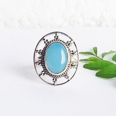 Beautiful NATURAL BLUE CHALCEDONY Gemstone Ring, Birthstone Ring, 925 Sterling Silver Ring, Fashion Handmade Ring, All Ring Size, Gift Ring
