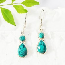 Gorgeous GREEN TURQUOISE Gemstone Earrings, Birthstone Earrings, 925 Sterling Silver Earrings, Fashion Handmade Earrings, Dangle Earrings, Gift Earrings