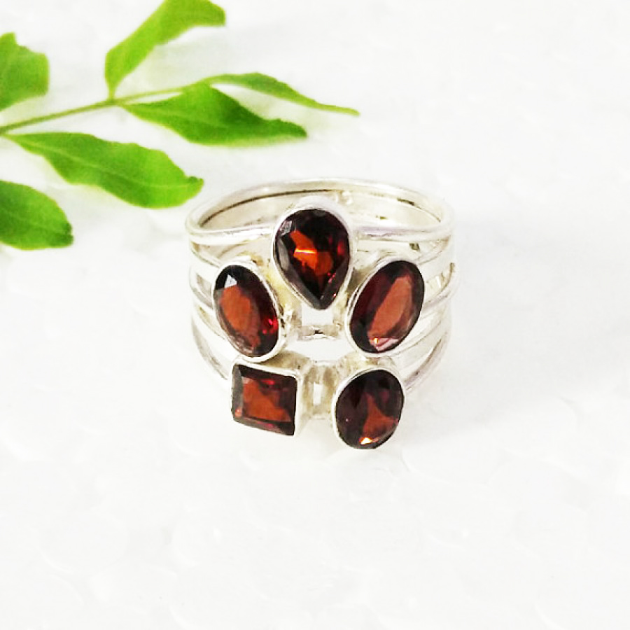 Beautiful NATURAL RED GARNET Gemstone Ring, Birthstone Ring, 925 Sterling Silver Ring, Fashion Handmade Ring, All Ring Size, Gift Ring