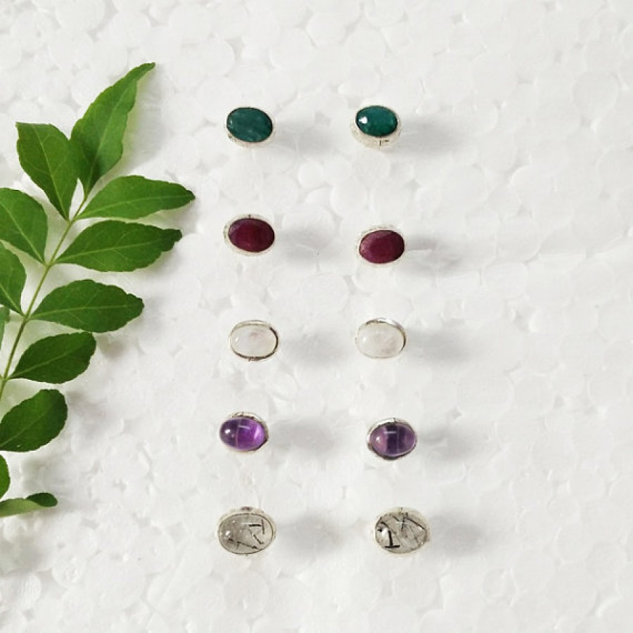 Amazing 5 PAIRS NATURAL Gemstone Earrings, Birthstone Earrings, 925 Sterling Silver Earrings, Handmade Earrings, Weekdays Stud Earrings, Gift Earrings