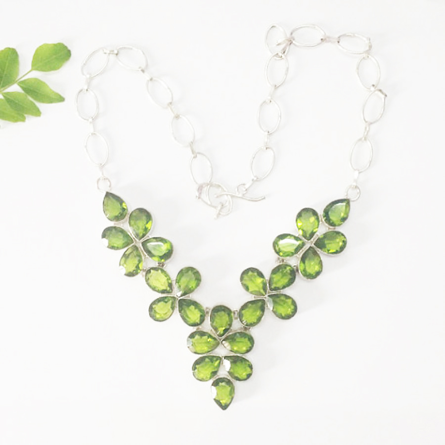Beautiful GREEN PERIDOT Gemstone Necklace, Birthstone Necklace, 925 Sterling Silver Necklace, Fashion Handmade Necklace, Gift Necklace, Adjustable Size