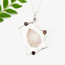 Attractive NATURAL ROSE QUARTZ / RED GARNET Gemstone Pendant, Birthstone Pendant, 925 Sterling Silver Pendant, Fashion Handmade Pendant, Free Chain, Gift Pendant