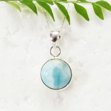 Exclusive NATURAL DOMINICAN LARIMAR Gemstone Pendant, Birthstone Pendant, 925 Sterling Silver Pendant, Fashion Handmade Pendant, Free Chain, Gift Pendant