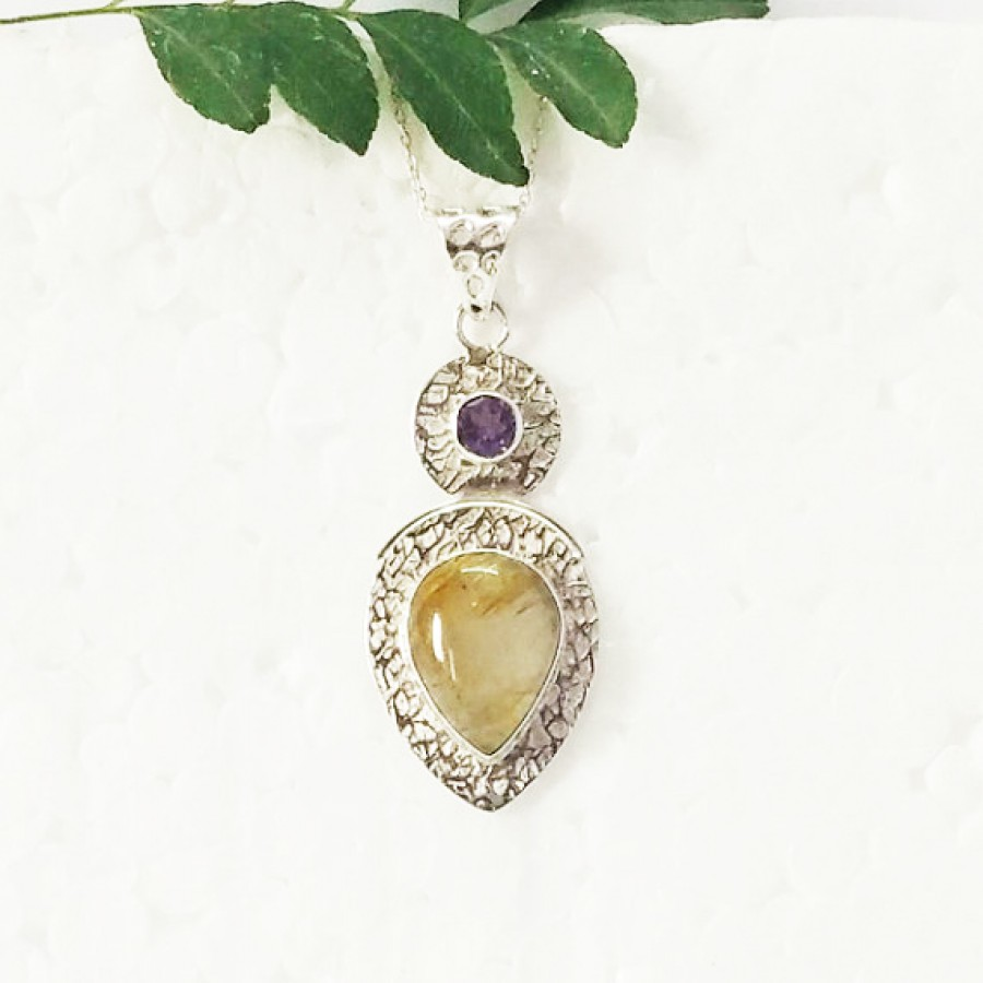 Attractive NATURAL GOLDEN RUTILE / PURPLE AMETHYST Gemstone Pendant, Birthstone Pendant, 925 Sterling Silver Pendant, Fashion Handmade Pendant, Free Chain, Gift Pendant