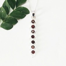 Gorgeous NATURAL RED GARNET Gemstone Pendant, Birthstone Pendant, 925 Sterling Silver Pendant, Fashion Handmade Pendant, Free Chain, Gift Pendant