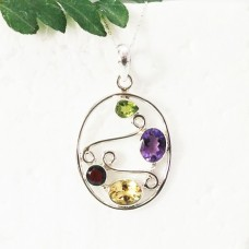 Beautiful NATURAL MULTI GEMSTONE Pendant, Birthstone Pendant, 925 Sterling Silver Pendant, Fashion Handmade Pendant, Free Chain, Gift Pendant