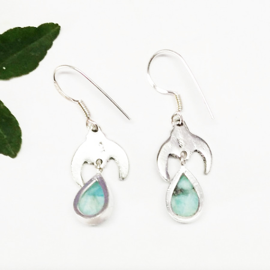 Beautiful NATURAL DOMINICAN LARIMAR Gemstone Earrings, Birthstone Earrings, 925 Sterling Silver Earrings, Fashion Handmade Earrings, Dangle Earrings, Gift Earrings