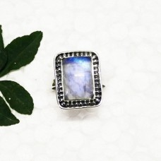 Exotic NATURAL BLUE FIRE RAINBOW MOONSTONE Gemstone Ring, Birthstone Ring, 925 Sterling Silver Ring, Fashion Handmade Ring, All Ring Size, Gift Ring