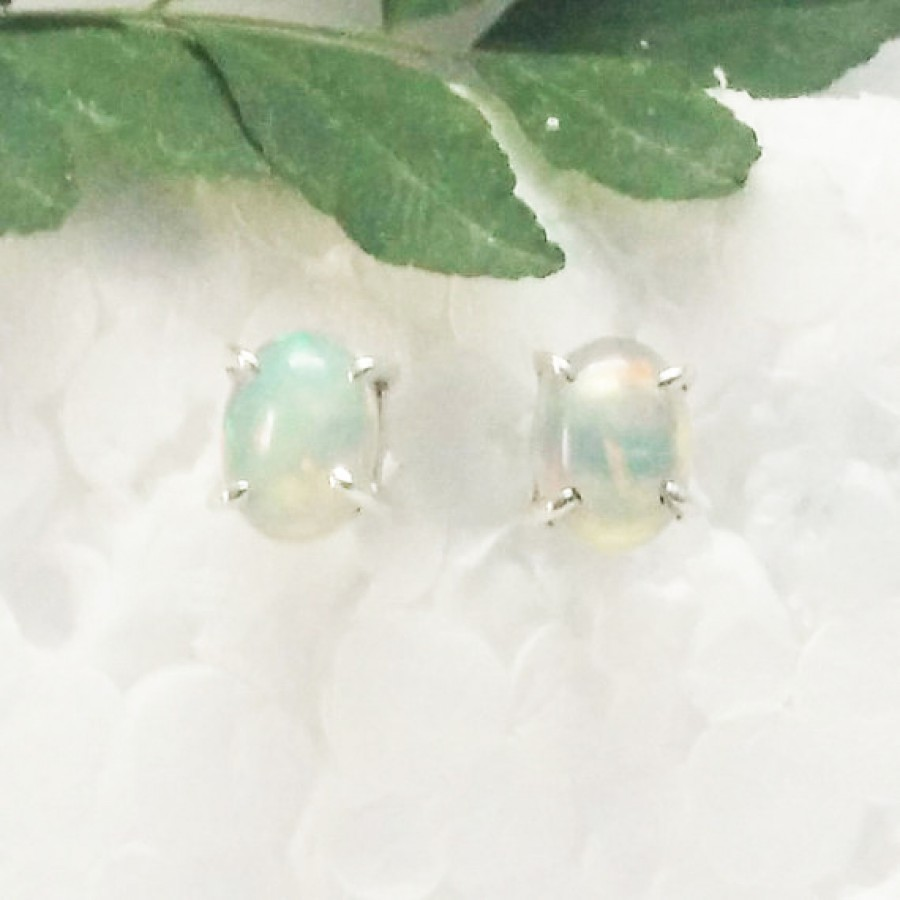 Amazing NATURAL ETHIOPIAN OPAL Gemstone Earrings, Birthstone Earrings, 925 Sterling Silver Earrings, Healing Energy & Powers, Stud Earrings, Gift Earrings