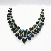 Exclusive NATURAL BLUE FIRE LABRADORITE Gemstone Necklace, Birthstone Necklace, 925 Sterling Silver Necklace, Fashion Handmade Necklace, Gift Necklace, Adjustable Size