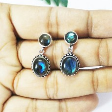 Gorgeous NATURAL BLUE FIRE LABRADORITE Gemstone Earrings, Birthstone Earrings, 925 Sterling Silver Earrings, Fashion Handmade Earrings, Drop Earrings, Gift Earrings
