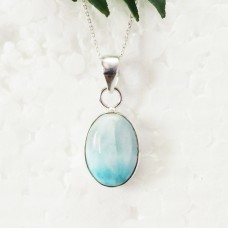 Beautiful NATURAL DOMINICAN LARIMAR Gemstone Pendant, Birthstone Pendant, 925 Sterling Silver Pendant, Fashion Handmade Pendant, Free Chain, Gift Pendant