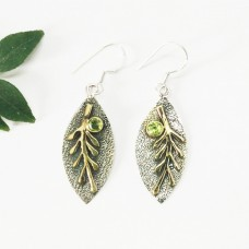 Gorgeous NATURAL PERIDOT Gemstone Earrings, Birthstone Earrings, 925 Sterling Silver Two Tone Earrings, Fashion Handmade Earrings, Dangle Earrings, Gift Earrings