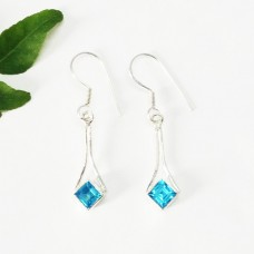 Amazing SWISS BLUE TOPAZ Gemstone Earrings, Birthstone Earrings, 925 Sterling Silver Earrings, Fashion Handmade Earrings, Dangle Earrings, Gift Earrings