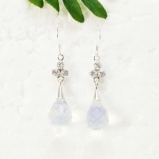 Beautiful NATURAL CLEAR CRYSTAL Gemstone Earrings, Birthstone Earrings, 925 Sterling Silver Earrings, Fashion Handmade Earrings, Dangle Earrings, Gift Earrings