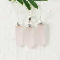 Amazing NATURAL ROSE QUARTZ Gemstone Pendant Earrings Set, 925 Sterling Silver Set, Handmade Pendant Set, Birthstone Jewelry, Free Chain, Gift Jewelry