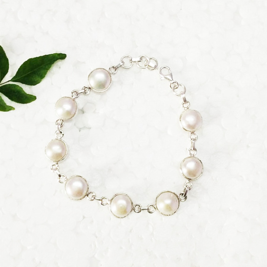 Beautiful NATURAL PEARL Gemstone Bracelet, Birthstone Bracelet, 925 Sterling Silver Bracelet, Fashion Handmade Bracelet, Adjustable Size, Gift Bracelet