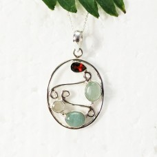 Attractive NATURAL MULTI GEMSTONE Pendant, Birthstone Pendant, 925 Sterling Silver Pendant, Fashion Handmade Pendant, Free Chain, Gift Pendant