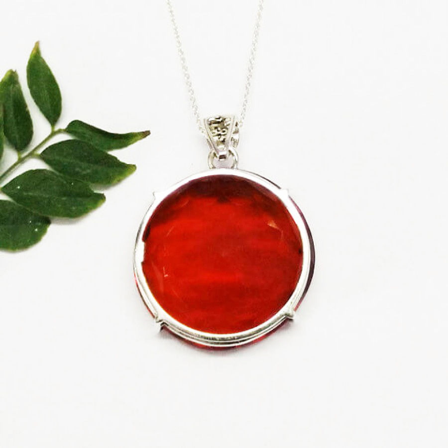 Exclusive RED GARNET Gemstone Pendant, Birthstone Pendant, 925 Sterling Silver Pendant, Fashion Handmade Pendant, Free Chain, Gift Pendant