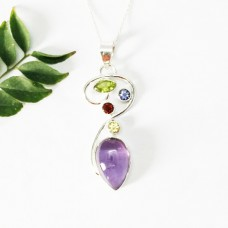 Beautiful MULTI GEMSTONE Pendant, Birthstone Pendant, 925 Sterling Silver Pendant, Fashion Handmade Pendant, Free Chain, Gift Pendant
