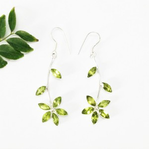 Beautiful GREEN PERIDOT Gemstone Earrings, Birthstone Earrings, 925 Sterling Silver Earrings, Fashion Handmade Earrings, Dangle Earrings