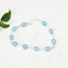 Beautiful NATURAL BLUE CHALCEDONY Gemstone Bracelet, Birthstone Bracelet, 925 Sterling Silver Bracelet, Fashion Handmade Bracelet, Adjustable Size, Gift Bracelet
