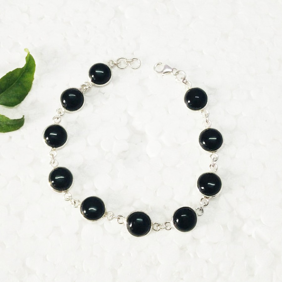 Beautiful BLACK ONYX Gemstone Bracelet, Birthstone Bracelet, 925 Sterling Silver Bracelet, Fashion Handmade Bracelet, Adjustable Size, Gift Bracelet