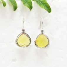 Beautiful YELLOW CITRINE / WHITE TOPAZ Gemstone Earrings, Birthstone Earrings, 925 Sterling Silver Earrings, Fashion Handmade Earrings, Dangle Earrings, Gift Earrings