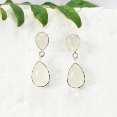 Beautiful WHITE CHALCEDONY Gemstone Earrings, Birthstone Earrings, 925 Sterling Silver Earrings, Fashion Handmade Earrings, Drop Earrings, Gift Earrings