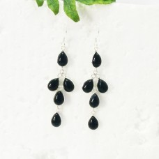 Beautiful BLACK ONYX Gemstone Earrings, Birthstone Earrings, 925 Sterling Silver Earrings, Fashion Handmade Earrings, Dangle Earrings, Gift Earrings