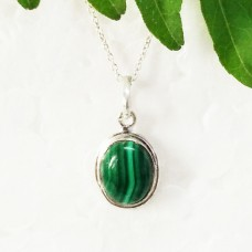 Attractive NATURAL MALACHITE Gemstone Pendant, Birthstone Pendant, 925 Sterling Silver Pendant, Fashion Handmade Pendant, Free Chain, Gift Pendant