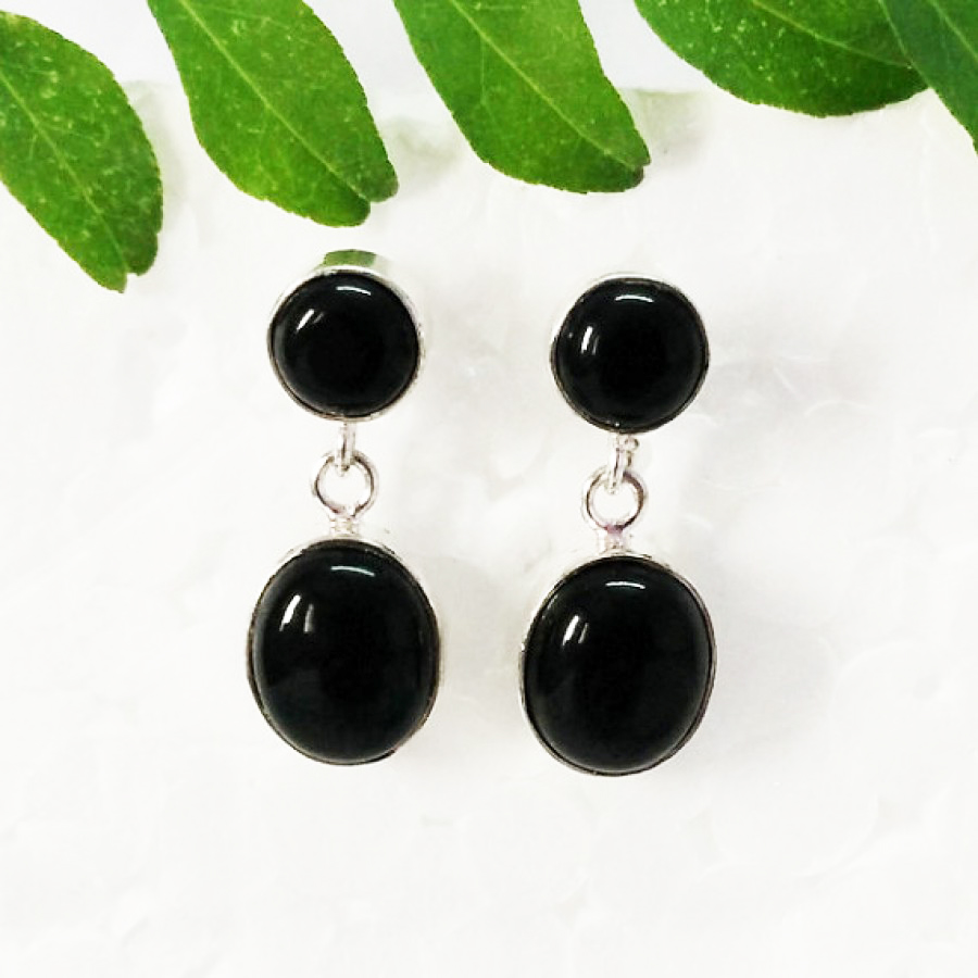 Beautiful BLACK ONYX Gemstone Earrings, Birthstone Earrings, 925 Sterling Silver Earrings, Fashion Handmade Earrings, Drop Earrings, Gift Earrings