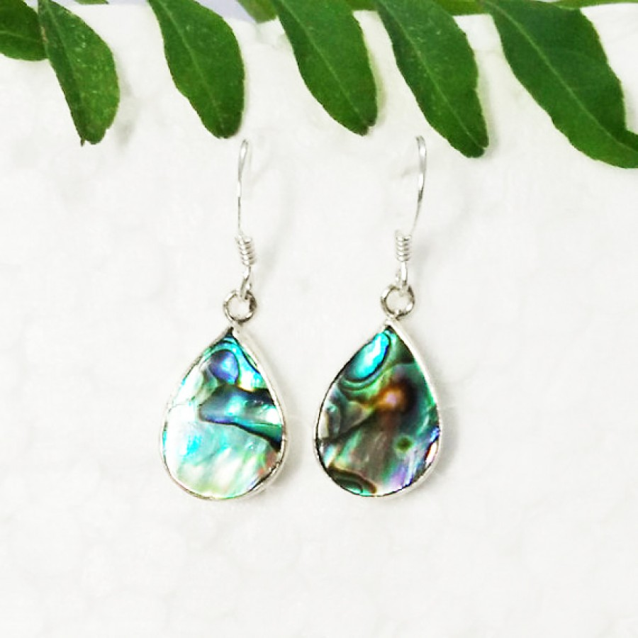 Amazing NATURAL ABALONE SHELL Gemstone Earrings, Birthstone Earrings, 925 Sterling Silver Earrings, Fashion Handmade Earrings, Dangle Earrings, Gift Earrings