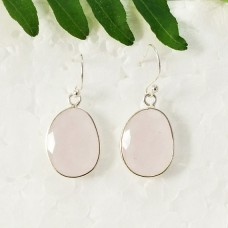 Amazing NATURAL ROSE QUARTZ Gemstone Earrings, Birthstone Earrings, 925 Sterling Silver Earrings, Fashion Handmade Earrings, Dangle Earrings, Gift Earrings