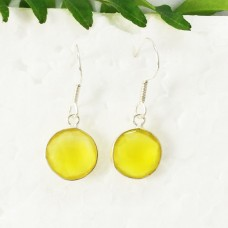 Attractive YELLOW ONYX Gemstone Earrings, Birthstone Earrings, 925 Sterling Silver Earrings, Fashion Handmade Earrings, Dangle Earrings, Gift Earrings