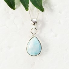 Gorgeous NATURAL DOMINICAN LARIMAR Gemstone Pendant, Birthstone Pendant, 925 Sterling Silver Pendant, Fashion Handmade Pendant, Free Chain, Gift Pendant