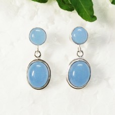 Amazing BLUE CHALCEDONY Gemstone Earrings, Birthstone Earrings, 925 Sterling Silver Earrings, Fashion Handmade Earrings, Drop Earrings, Gift Earrings