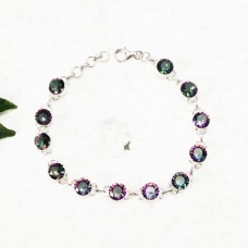 Beautiful MIDNIGHT MYSTIC TOPAZ Gemstone Bracelet, Birthstone Bracelet, 925 Sterling Silver Bracelet, Fashion Handmade Bracelet, Adjustable Size, Gift Bracelet