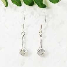 Awesome NATURAL CLEAR CRYSTAL Gemstone Earrings, Birthstone Earrings, 925 Sterling Silver Earrings, Fashion Handmade Earrings, Dangle Earrings, Gift Earrings