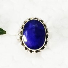 Attractive NATURAL INDIAN BLUE SAPPHIRE Gemstone Ring, Birthstone Ring, 925 Sterling Silver Ring, Fashion Handmade Ring, All Ring Size, Gift Ring