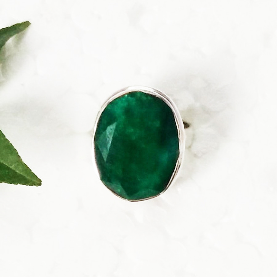 Attractive NATURAL INDIAN EMERALD Gemstone Ring, Birthstone Ring, 925 Sterling Silver Ring, Fashion Handmade Ring, All Ring Size, Gift Ring
