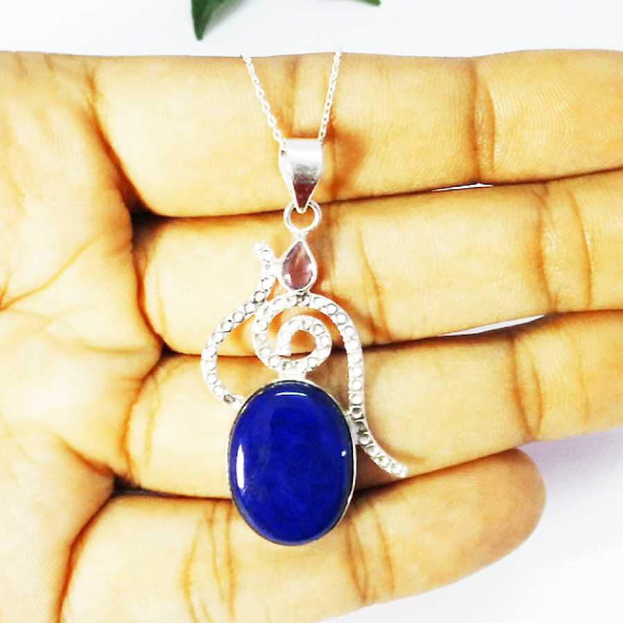 925 Sterling Silver Lapis Lazuli Amethyst Ring