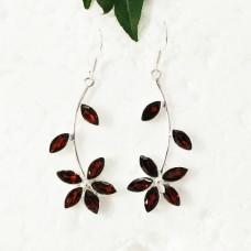 Exclusive NATURAL RED GARNET Gemstone Earrings, Birthstone Earrings, 925 Sterling Silver Earrings, Fashion Handmade Earrings, Dangle Earrings, Gift Earrings