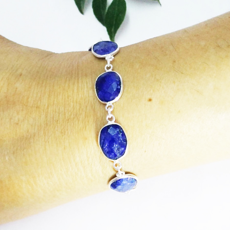 Exotic NATURAL INDIAN BLUE SAPPHIRE Gemstone Bracelet, Birthstone Bracelet, 925 Sterling Silver Bracelet, Fashion Handmade Bracelet, Adjustable Size, Gift Bracelet
