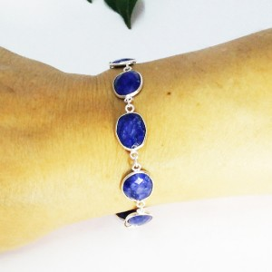 Exotic Natural INDIAN BLUE SAPPHIRE Gemstone Bracelet, Birthstone Bracelet, Handmade Bracelet, 925 Sterling Silver Bracelet, Adjustable Size