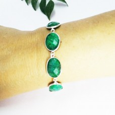 Beautiful NATURAL INDIAN EMERALD Gemstone Bracelet, Birthstone Bracelet, 925 Sterling Silver Bracelet, Fashion Handmade Bracelet, Adjustable Size, Gift Bracelet