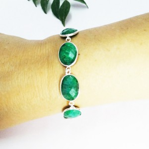 Beautiful NATURAL INDIAN EMERALD Gemstone Bracelet, Birthstone Bracelet, 925 Sterling Silver Bracelet, Handmade Bracelet, Adjustable Size